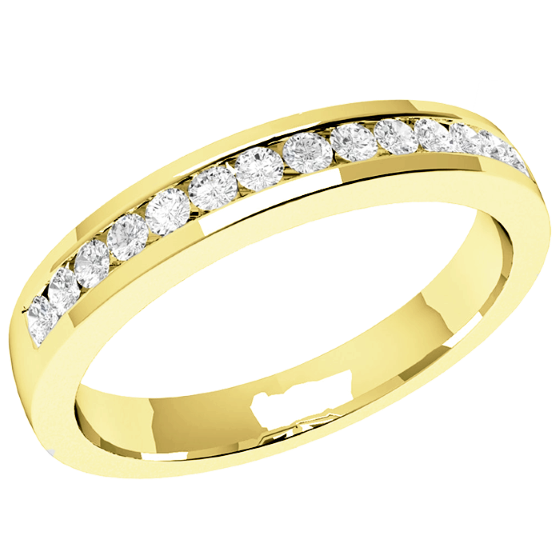 Half Eternity Ring/Diamond set wedding ring for women in 18ct yellow gold with 14 round brilliant cut diamonds in channel setting, court, width 2.9mm-img1