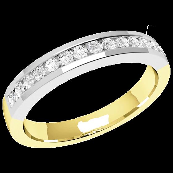 Halb Eternity Ring/Ehering mit Diamanten für Dame in 18kt Gelbgold und Weißgold mit 14 runden Brillanten in Kanalfassung, bombiertes Profil, 2.9mm Breit-img1