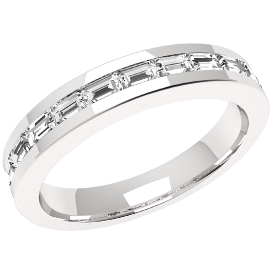 Half Eternity Ring Diamond Set Wedding For Women In Platinum With 12 Baguette Diamonds A Channel Setting
