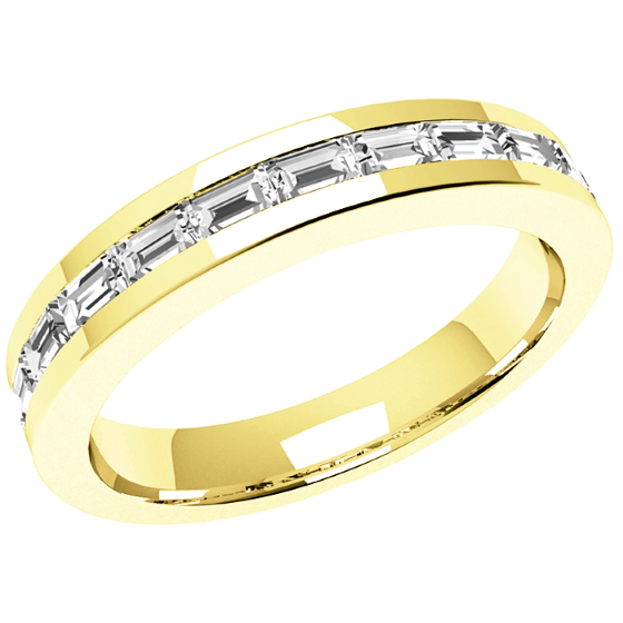 Half Eternity Ring Diamond Set Wedding For Women In 18ct Yellow Gold With 12 Baguette Diamonds A Channel Setting