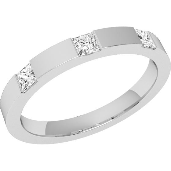 Diamond Set Wedding Ring for Women in Platinum with 3 Princess Cut