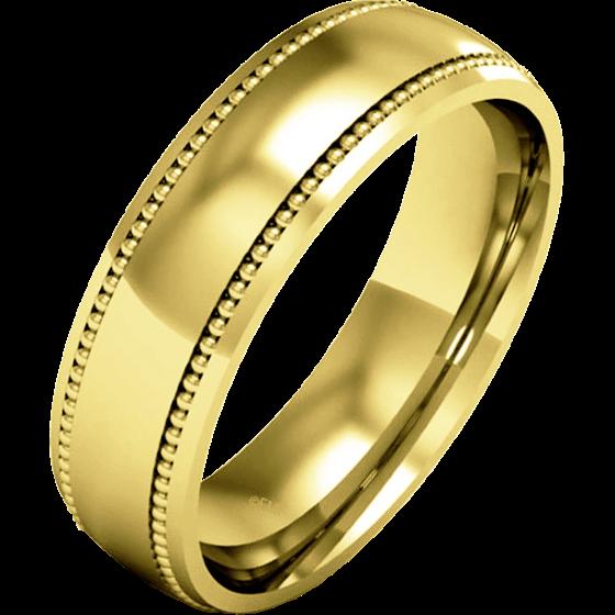 Einfacher Ehering für Dame in 9kt Gelbgold mit Milgrain Design, Schwergewicht, poliertes/gebürstetes Finish-img1