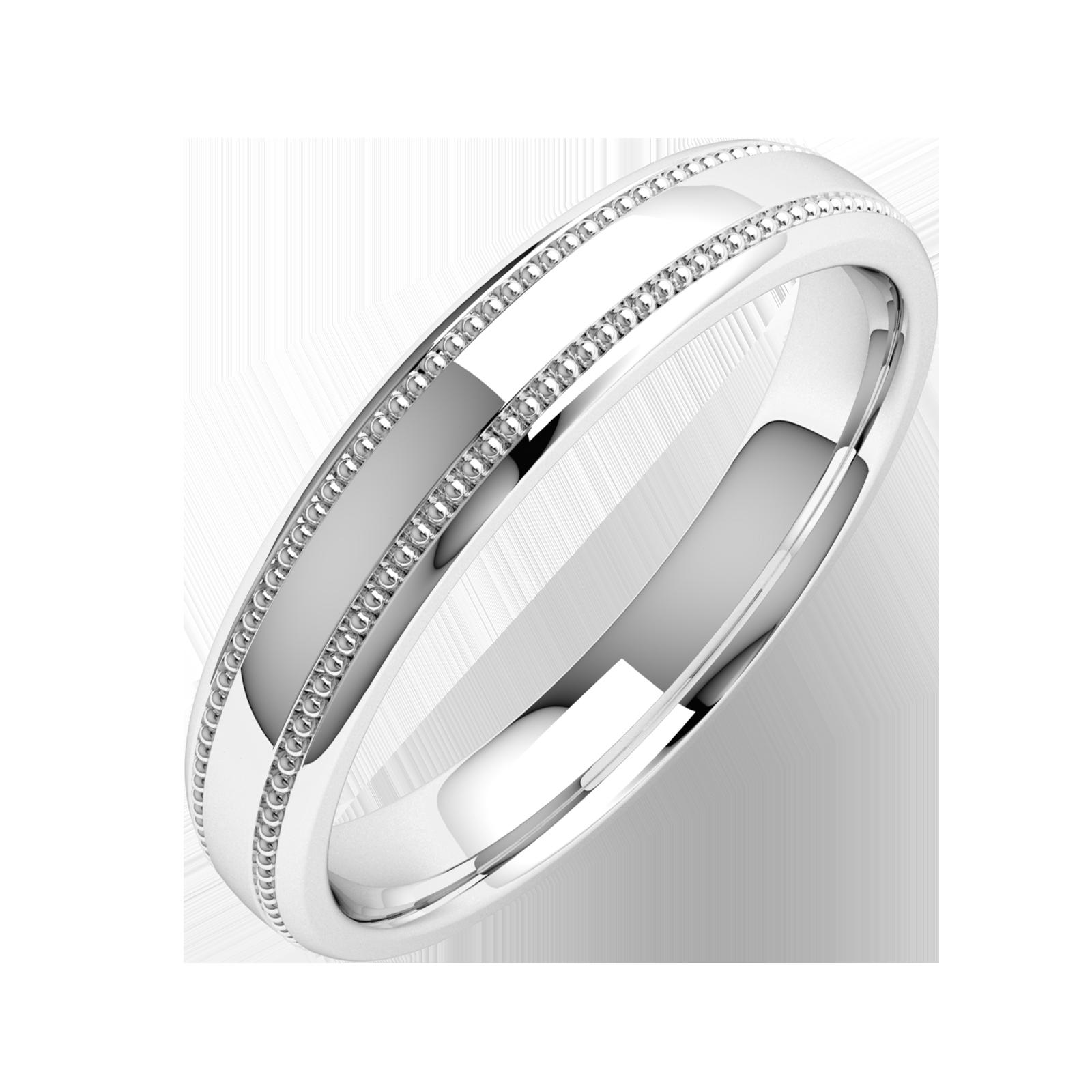 Einfacher Ehering für Dame in Palladium mit Milgrain Design, Schwergewicht, poliertes/gebürstetes Finish-img1