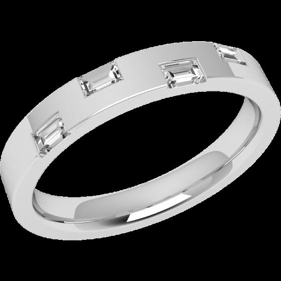 Ehering mit Diamanten für Dame in Platin mit 4 Baguette Schliff Diamanten in Zargenfassung, außen flach/innen bombiert, 2.9mm breit-img1