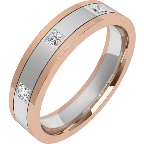 Verigheta cu Diamant Dama Aur Alb si Aur Roz 18kt cu 3 Diamante Princess, Top Plat/ Interior Rotunjit, Latime 4.5mm-img1