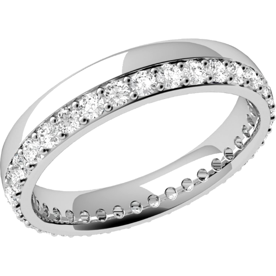 Verigheta cu Diamant Dama Aur Alb 18kt cu Diamante Rotund Briliant in Setare Gheare in Jurul Inelului Profil Bombat Latime 3.65mm-img1