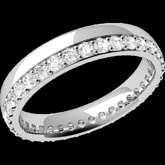 RDW071W1 - Verighetă damă din aur alb 18kt,bombată,lățime 3.65mm cu diamante tăietura rotund brilliant așezate de jur împrejur cu setare în gheare-img1
