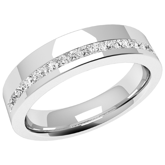63412e4a943 Diamond Set Wedding Ring for Women in Platinum with 17 Princess Cut Diamonds  in a Channel Setting