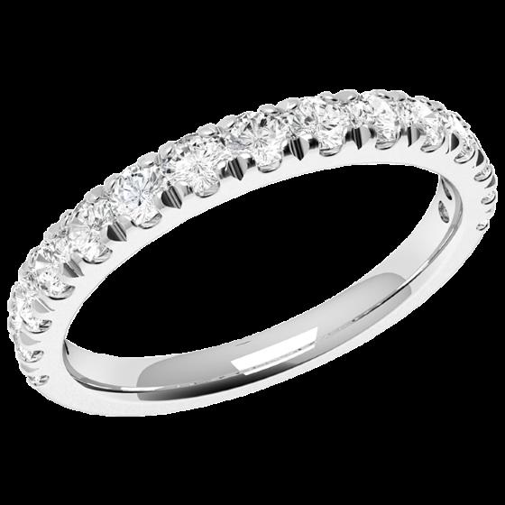 Halb Eternity Ring/Ehering mit Diamanten für Dame in 9kt Weißgold mit 15 runden Brillanten in Krappenfassung-img1