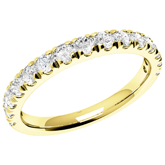 Half Eternity Ring Diamond Set Wedding For Women In 18ct Yellow Gold With 15 Round Brilliant Diamonds Claw Setting