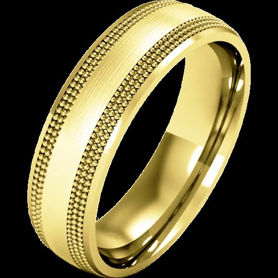 Einfacher Ehering für Dame in 9kt Gelbgold mit Milgrain, Schwergewicht, poliertes/gebürstetes Finish-img1