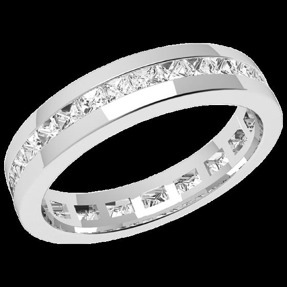 Verigheta cu Diamant/Inel Eternity Dama Aur Alb 18kt cu Diamante Princess Setate cu Canal-img1