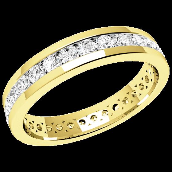 Full Eternity Ring/Diamond set wedding ring for women in 18ct yellow gold with round diamonds-img1