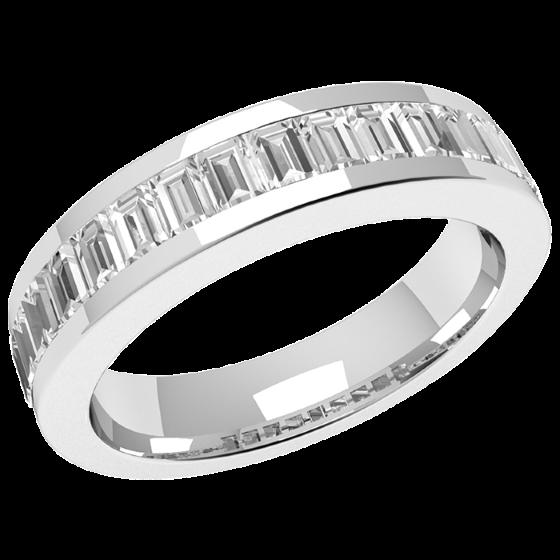 Halb Eternity Ring/Ehering mit Diamanten für Dame in Platin mit 17 Baguette Schliff Diamanten-img1