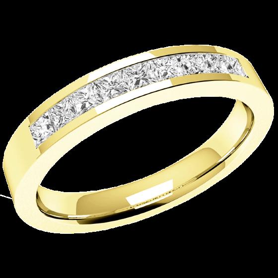 Halb Eternity Ring/Ehering mit Diamanten für Dame in 18kt Gelbgold mit 9 Princess Schliff Diamanten in Kanalfassung-img1