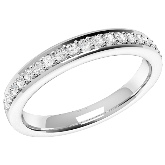 Halb Eternity Ring/Ehering mit Diamanten für Dame in Palladium mit 19 runden Brillanten in Krappenfassung, bombiertes Profil, 2.75mm breit-img1