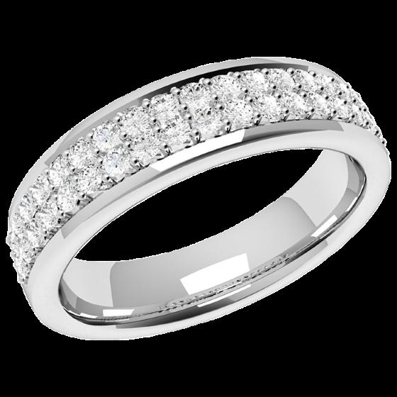 Halb Eternity Ring/Ehering mit Diamanten für Dame in Platin mit 38 in Krappenfassung in 2 Reihen-img1