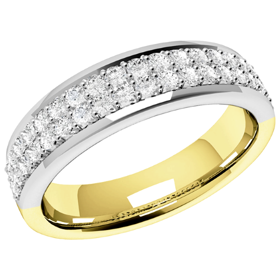 Half Eternity Ring/Diamond set wedding ring for women in 18ct yellow and white gold with 38 round diamonds in claw setting arranged over 2 rows-img1