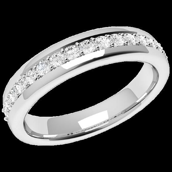 Halb Eternity Ring/Ehering mit Diamanten für Dame in 18kt Weißgold mit 17 runden Brillanten in Krappenfassung, Bombiert, 3.75mm Breit-img1
