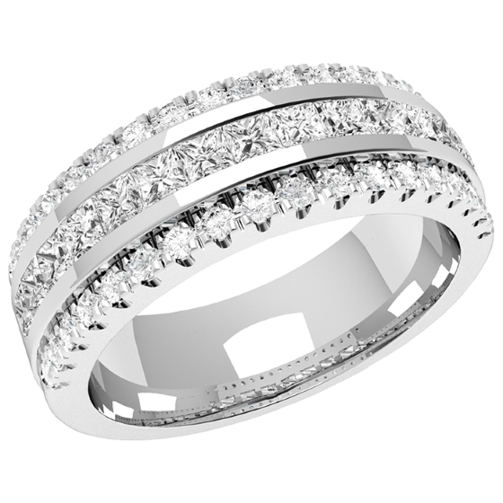 Verigheta cu Diamant/ Inel eternity Dama Aur Alb, 18kt cu 15 Diamante Princess & 36 Diamante Rotund Briliant in Setare Canal, 7.00mm-img1