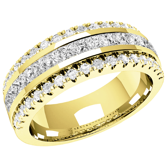 Half Eternity Ring/Diamond set wedding ring for women in 18ct yellow gold with 15 princess cut diamonds and 36 round diamonds, width 7mm-img1