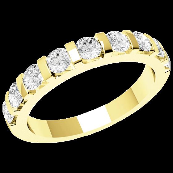 Halb Eternity Ring/Ehering mit Diamanten für Dame in 18kt Gelbgold mit 9 runden Brillanten in Balkenfassung, 2.9mm breit-img1