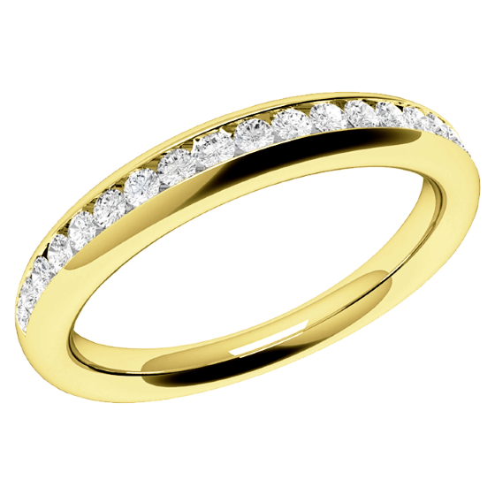 Full Eternity Ring/Diamond set wedding ring for women in 18ct yellow gold with round brilliant cut diamonds in channel setting-img1