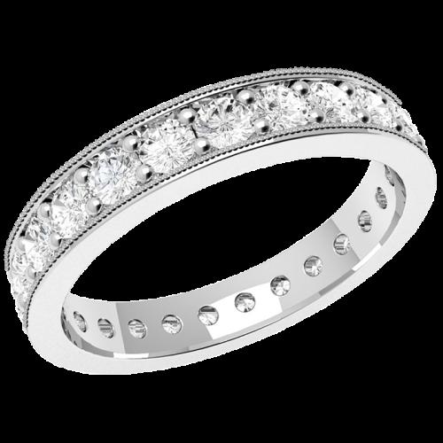 Verigheta cu Diamant/Inel Eternity Dama Aur Alb 18kt cu Diamante Forma Rotund Briliant Setare cu Gheare Asezate Imrejurul Inelului-img1