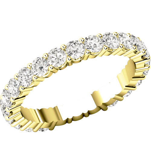 Full Eternity Ring/Diamond set wedding ring for women in 18ct yellow gold with round brilliant cut diamonds going all the way round in a claw setting-img1