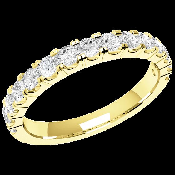 Halb Eternity Ring/Ehering mit Diamanten für Dame in 18kt Gelbgold mit 15 Runden Brillant Schliff Diamanten in Krappenfassung-img1