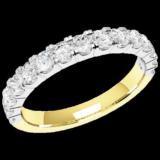 Halb Eternity Ring/Ehering mit Diamanten für Dame in 18kt Gelbgold und Weißgold mit 15 Runden Brillant Schliff Diamanten in Krappenfassung-img1