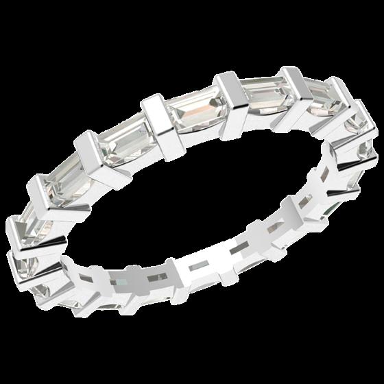 Verigheta cu Diamant/Inel Eternity Dama Platina cu Diamante Forma Bagheta in Setare Tip Bara, Latime 2.3mm-img1