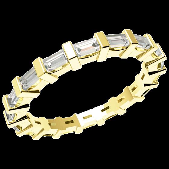 Voll Eternity Ring/Ehering mit Diamanten für Dame in 18kt Gelbgold mit Baguette Schliff Diamanten in Balkenfassung, Breite 2.3mm-img1