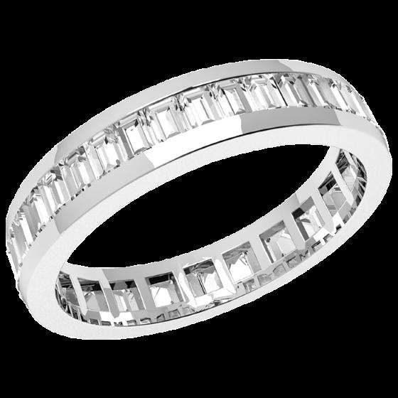 Verigheta cu Diamant/Inel Eternity Dama Aur Alb 18kt cu Diamante Forma Bagheta de jur imprejur, Latime 4mm-img1