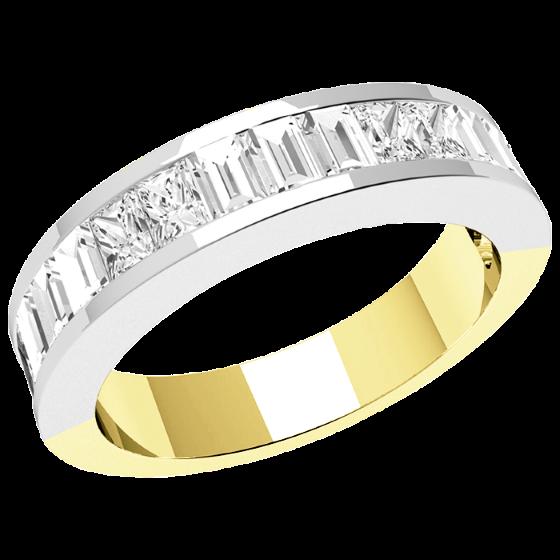 Halb Eternity Ring/Ehering mit Diamanten für Dame in 18kt Gelbgold und Weißgold mit länglichen Princess und Baguette Schliff Diamanten-img1