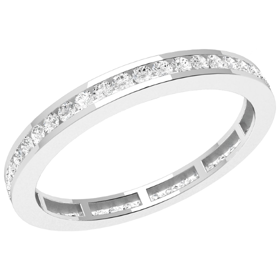Verigheta cu Diamant/Inel Eternity Dama Platina cu Diamante Rotund Briliant imprejur in Setare Canal, Latime 2mm-img1