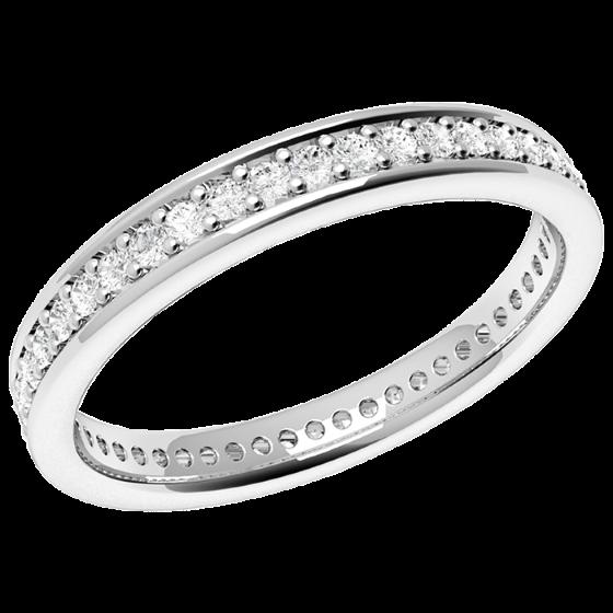 Voll Eternity Ring/Ehering mit Diamanten für Dame in Palladium mit runden Diamanten in Krappenfassung, bombiertes Profil, 3mm breit-img1