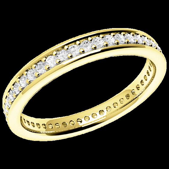 Voll Eternity Ring/Ehering mit Diamanten für Dame in 18kt Geldgold mit runden Diamanten in Krappenfassung, bombiertes Profil, 3mm breit-img1