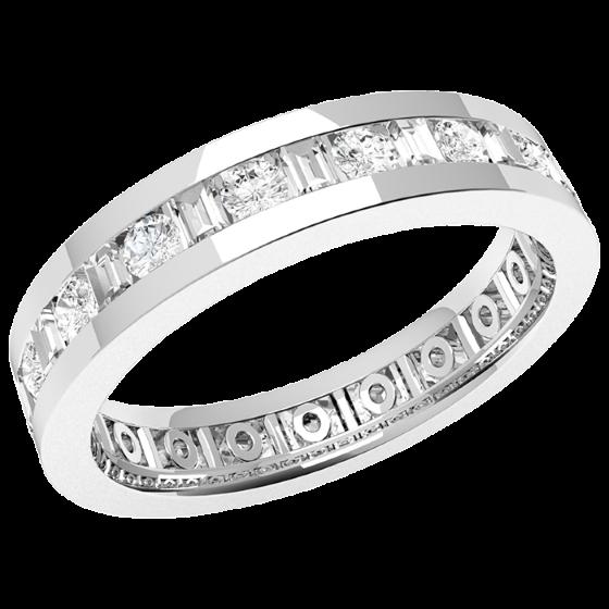 Verigheta cu Diamant/Inel Eternity Dama Aur Alb 18kt cu Diamante Rotund Briliant si Forma Bagheta de jur imrejur, Latime 4.2mm-img1