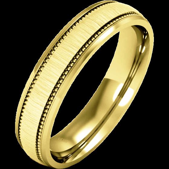 Einfacher Ehering für Dame in 9kt Gelbgold - Milgrain Design, poliertes/gebürstetes Finish-img1