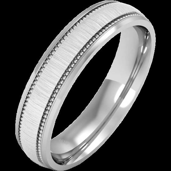 Einfacher Ehering für Dame in Palladium - Milgrain Design, poliertes/gebürstetes Finish-img1