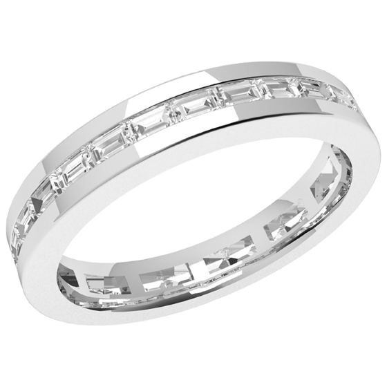 Voll Eternity Ring/Ehering mit Diamanten für Dame in Platin mit Baguette Schliff Diamanten in Kanalfassung die gehen ringsherum-img1