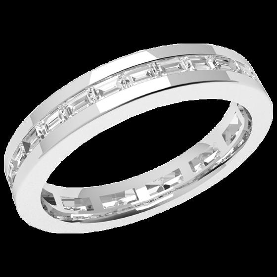 Inel Eternity/Verigheta cu Diamant Dama Platina cu Diamante Bagheta de jur imprejur, Latime 3.5mm-img1
