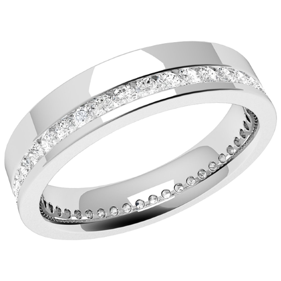 Verigheta cu Diamant Dama Aur Alb 18kt cu Diamante Taietura Rotund Briliant Asezate Imprejur in Setare Canal Latime 4.5mm-img1