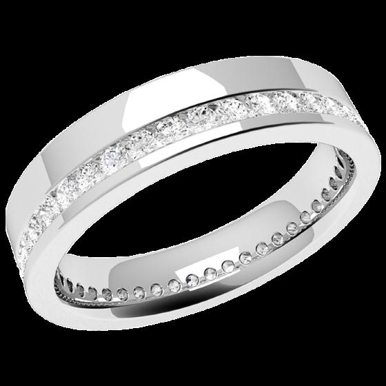 RDW107W1 - Verighetă damă aur alb 18kt, lățime 4.5mm, cu diamante tăietura rotund brilliant așezate în tot jurul inelului, cu setare în canal-img1