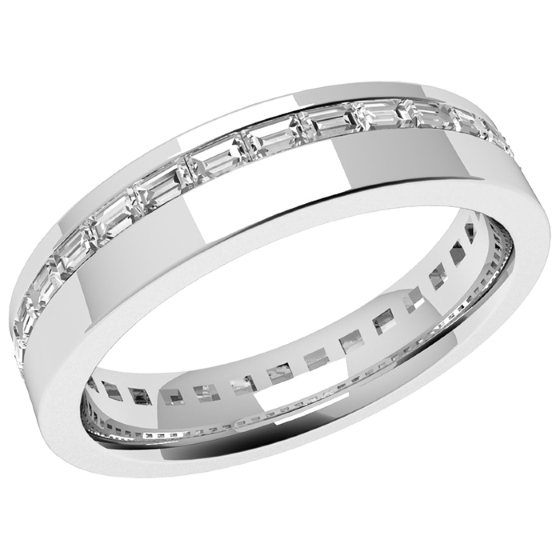 Diamond Set Wedding Ring for Women in Platinum with Baguette Cut Diamonds in