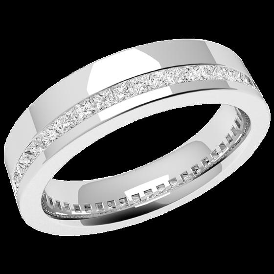 RDW110W1 - Verighetă damă din aur alb 18kt,lățime 4.5mm, cu diamante tăietura princess așezate de jur împrejur cu setare în canal-img1