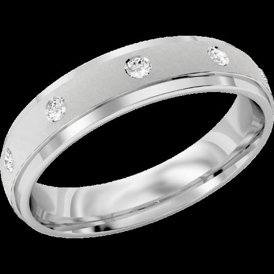 Ehering mit Diamanten für Dame in Platin mit 5 runden Brillanten in Zargenfassung, bombiertes Profil, Breite 4.5mm-img1