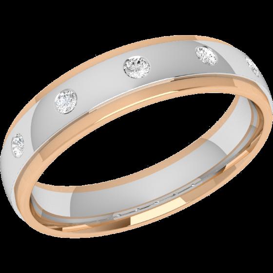 Verigheta cu Diamant Dama Aur Alb si Aur Roz 18kt cu 5 Diamante Rotund Briliant in Setare Rub-Over, Profil Bombat, Latime 4.5mm-img1