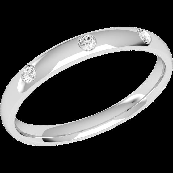 Ehering mit Diamanten für Dame in Platin mit 3 runden Brillanten in Zargenfassung, bombiertes Profil, Breite 2.5mm-img1